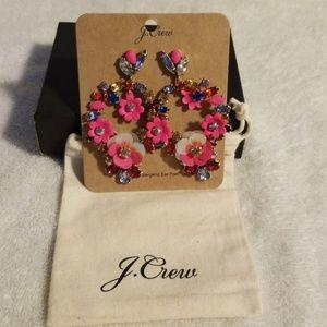 J Crew Rhinestone Flower Statement Earrings